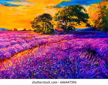 Original oil painting on canvas. Lavender field. Modern art