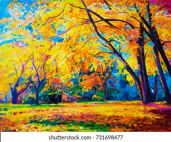Original oil painting on canvas. Yellow trees.  Modern art.