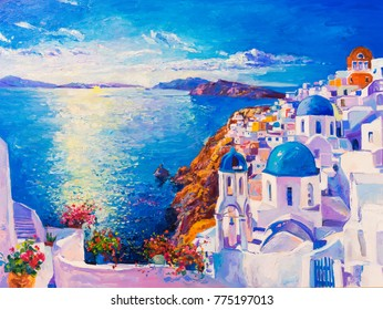 Original oil painting on canvas. Blue sea and white houses. Modern art.