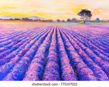Original oil painting on canvas. Lavender field. Modern art.
