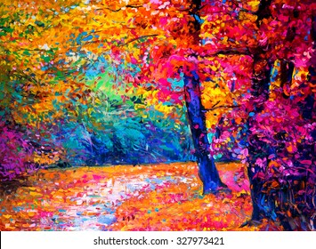 original oil painting on canvas-autumn landscape-modern impressionism by Nikolov