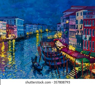 Original oil painting on canvas.Beautiful gondolas at night.Modern art.