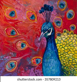 Original oil painting on canvas.Beautiful multicolored peacock.Modern art.