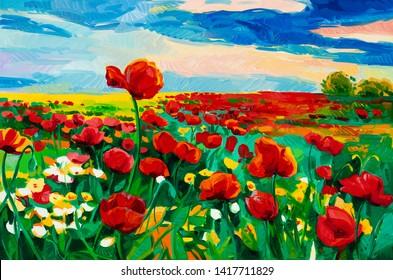Original Ölmalerei auf Opiummohn (Papaver somniferum) Feld vor dem schönen Sonnenuntergang auf der Leinwand.Moderner Impressionismus