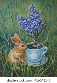 Original oil painting - Rabbit and hyacinth styled of Provence