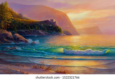 Original oil painting of  sea and beach on canvas.Rich golden Sunset over sea. Modern Impressionism.