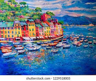 Original oil painting. Seascape painting. Modern art.