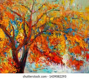 Original oil painting showing beautiful Autumn tree. Modern Impressionism