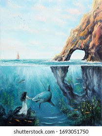 Original  oil painting showing the two worlds of the ocean.Fairy woman petting  a shark.Modern Impressionism, modernism,marinism