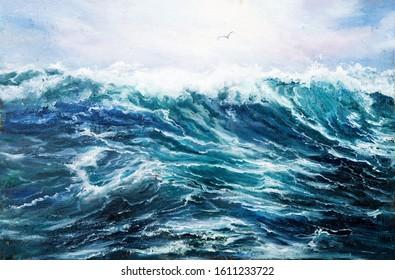 Original Ölmalerei, die Wellen im Ozean oder Meer auf Leinwand zeigt. Moderner Impressionismus, Modernismus, Marinismus