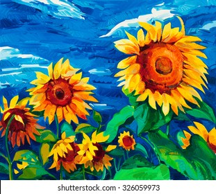 Original oil painting of sunflowers on canvas.Modern Impressionism