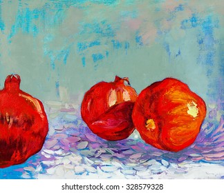 Original oil painting of tasty  pomegranate fruit ( Punica granatum) on canvas.Modern Impressionism