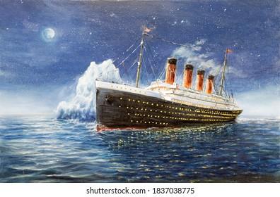 Original Ölmalerei Titanic und Eisberg in Ozean Nacht auf Leinwand.Vollmond und Sterne.Moderner Impressionismus