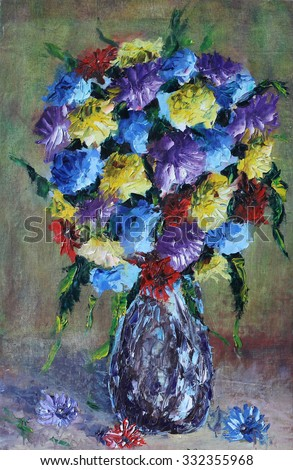 Original Oil Painting Vase Flowers Still Stock Illustration