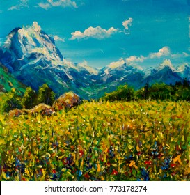 Original oil painting Yellow red flowers summer meadow on a background of blue snow-capped mountains illustration, beautiful Mountain landscape on canvas postcard artwork. Colorful Blue sky