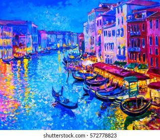 Original oil painting-gondola boat and Venice - Modern impressionism