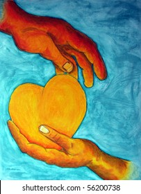 Original Oil Pastel Painting of two hands holding Golden Heart