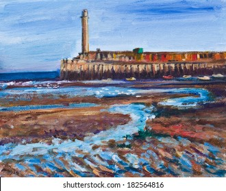 Original painting, illustration of Margate's lighthouse, and harbor. The sea is at low tide with the sand of the harbor and beach filled with pools of sea water. The lighthouse is in the background.