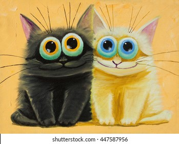 an original painting on canvas of white and black funny cats with big eyes, joy and happy mood, part of collection