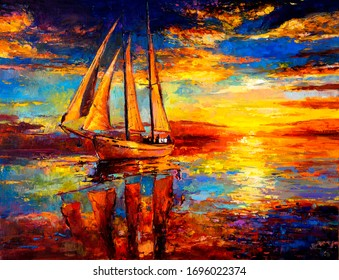 Original painting. Seascape painting. Modern art.