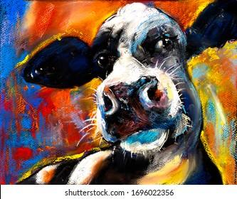 Original pastel painting. Cow portrait. Modern art.