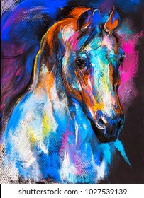 Original pastel painting of a horse on a cardboard. Modern art.