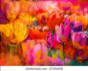 Original pastel painting on cardboard. Modern painting of Beautiful tulips