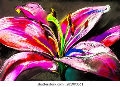 Original pastel painting on cardboard.Modern painting of a big lily