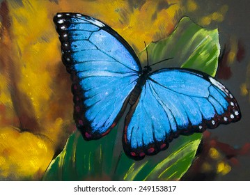 Original pastel painting on paper.Beautiful butterfly on a leaf.