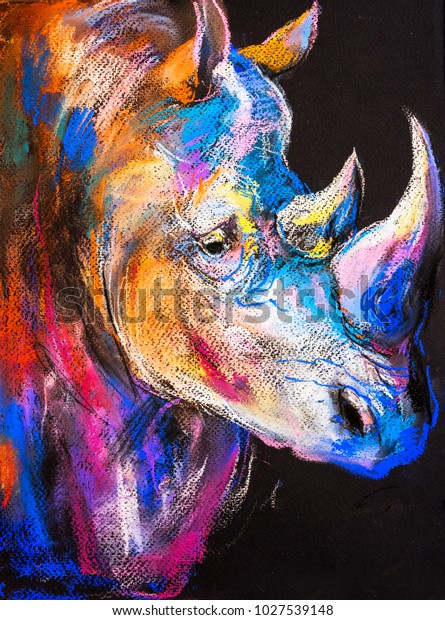 Original Pastel Painting Rhinoceros Modern Art Stock