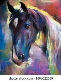 Original pastel painting.Horse portrait.  Modern art.
