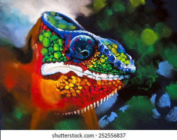 Original pastel panting on paper.Colorful chameleon in the woods.