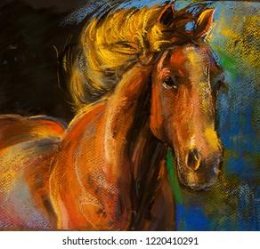 Original pastel portrait of horses.