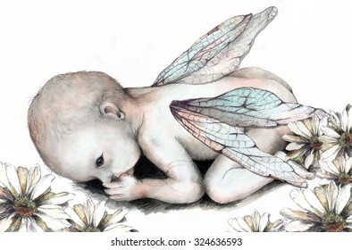 Original Pencil Drawing of a Baby Fairy or Nature Baby