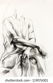 Original pencil  or drawing charcoal, and  hand drawn painting or  working  sketch of a woman.Free composition