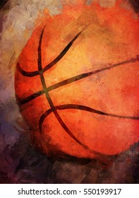An original photograph of a basketball transformed into a colorful textured abstract painting