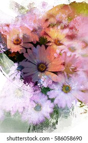 An original photograph of daisies transformed into a colorful abstract digital painting