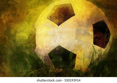 An original photograph of a soccer ball transformed into a colorful textured abstract painting