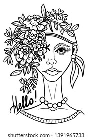 Original portrait of young woman with flower arrangement on her head. Digital stamp. Coloring.  Illustration.