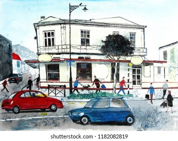 Original quirky style acrylic painting depicting old hotel, pedestrians and cars in busy main street of Petone, Lower Hutt, New Zealand.