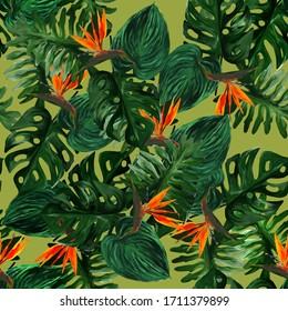 Original seamless tropical pattern with Strelitzia and leaves on light green background. Seamless pattern with colorful leaves of colocasia, filodendron, monstera. Exotic wallpaper. Hawaiian style.