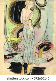 Original sketch from the 1920s- Femme Fatale