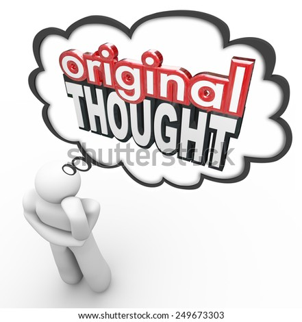 original thought words 3 d letters thinkers stock illustration