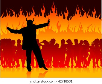 Original Vector Illustration: Party in hell with devil AI8 compatible