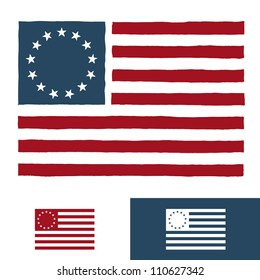 Original vintage American flag design with 13 stars
