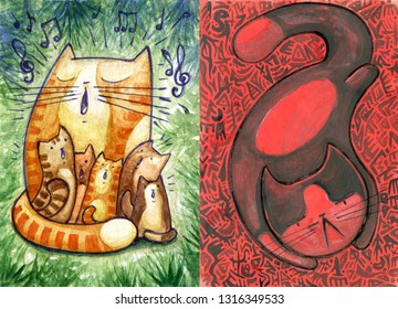 Original watercolor art, red demon and singing cat family. Cute colorful painting handmade. Mother and baby. Nursery decor.