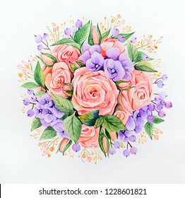 Original watercolor - a bouquet of pink roses and lilac hydrangeas on a white backgroundBouquet in the shape of a ball, roses and hydrangeas decorated with various kinds of green leaves