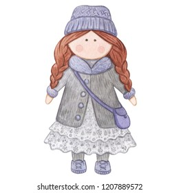 Original watercolor doll. Good illustration for a book, sticker, logo, business card or postcard. Doll, handmade, handmade, children's doll, interior doll, new year, winter.
