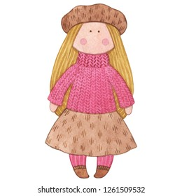 Original watercolor doll. Good illustration for a book, sticker, logo, business card or postcard. handmade, children's doll, interior doll, new year, winter, fur coat, clothes for doll.