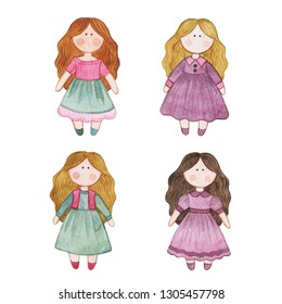 Original watercolor doll. Picture with cartoon girls. Nice illustration for for book, stickers,logo, business card or postcard.